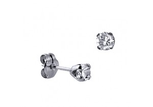 Sterling Silver 4mm Round Cubic Zirconia Studs