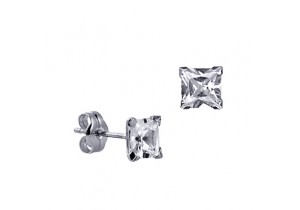 Sterling Silver 5mm Square Cubic Zirconia Studs