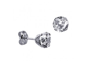 Sterling Silver 6mm Round Cubic Zirconia Studs