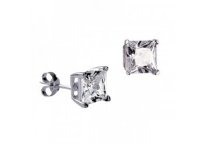 Sterling Silver 7mm Square Cubic Zirconia Studs