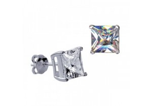 Sterling Silver 8mm Square Cubic Zirconia Studs
