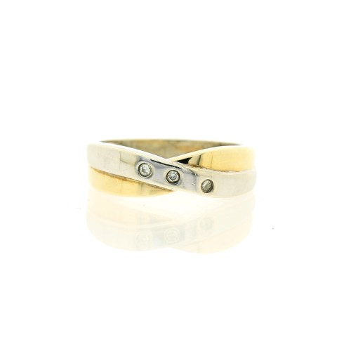 9ct Duo Tone Diamond Crossover Band