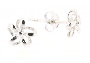 9ct White Gold Flower Studs