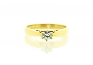 18ct Yellow Gold Solitaire 0.22ct Diamond Ring
