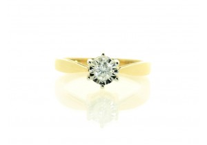 9ct Yellow Gold Diamond Illusion Ring