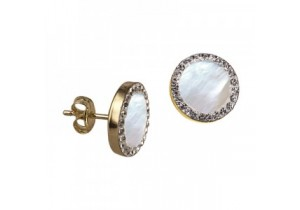 9ct Gold Mother of Pearl and Crystal Studs
