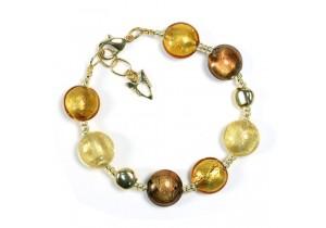 Antica Murrina Gold Amber Frida Murano Bracelet