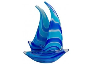 Coloured Glass Yacht Figurine