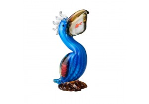 Glass Pelican Figurine with Fish