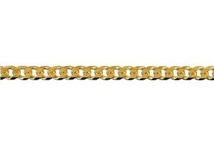 Bevelled Diamond Cut Curb Chain 100 in 9ct Yellow Gold
