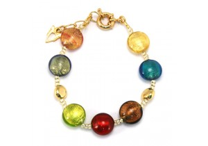 Antica Murrina Gold Multicoloured Frida Murano Bracelet