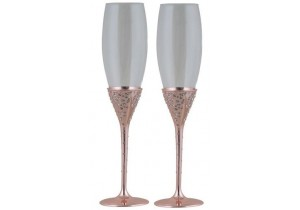 Pair of Rose Gold Champagne Flutes with Crystals
