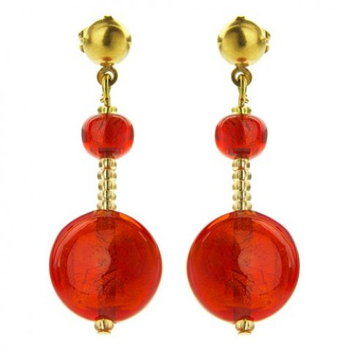 Antica Murrina Red Gold Frida Murano Earrings