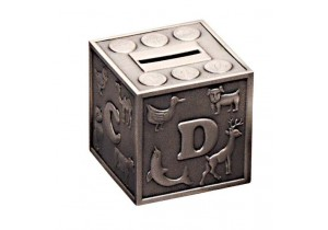 Pewter Alphabet Cube Money Box