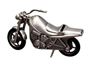 Pewter Motorbike Money Box