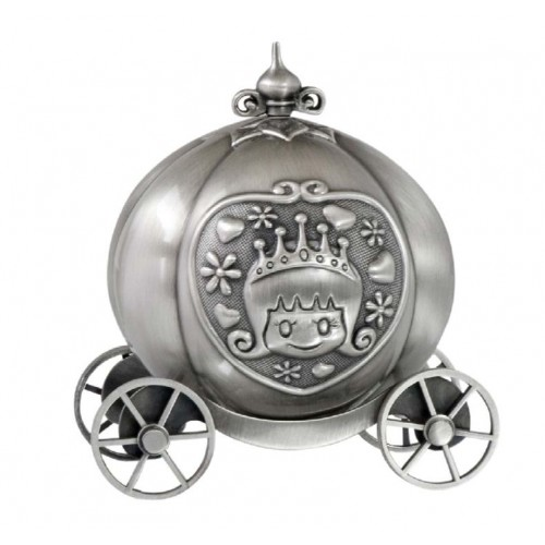 Pewter Pumpkin Coach Money Box