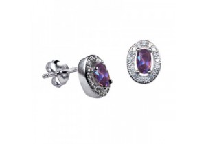 Sterling Silver Oval Studs with Amethyst Cubic Zirconia (February)