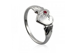 Sterling Silver Heart Signet Ring with Garnet Cubic Zirconia (January)