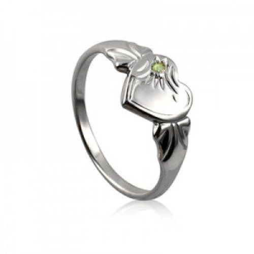 Sterling Silver Heart Signet Ring with Peridot Cubic Zirconia (August)