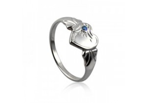 Sterling Silver Heart Signet Ring with Sapphire Cubic Zirconia (September)