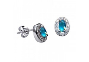 Sterling Silver Oval Studs with Blue Zircon Cubic Zirconia (December)