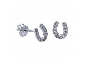 Sterling Silver Cubic Zirconia Horseshoe Studs
