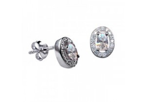 Sterling Silver Oval Studs with Cubic Zirconia Studs (April)