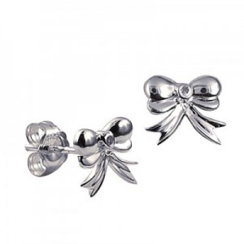 Sterling Silver and Cubic Zirconia Bow Studs