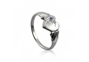 Sterling Silver Heart Signet Ring with Alexandrite Cubic Zirconia (June)