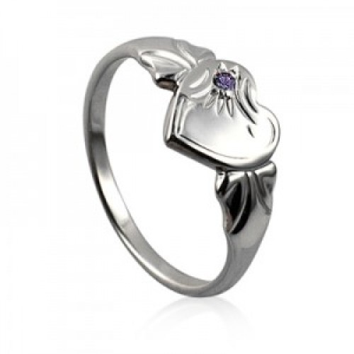 Sterling Silver Heart Signet Ring with Amethyst Cubic Zirconia (February)