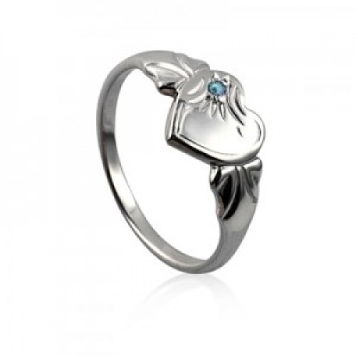 Sterling Silver Heart Signet Ring with Aquamarine Cubic Zirconia (March)