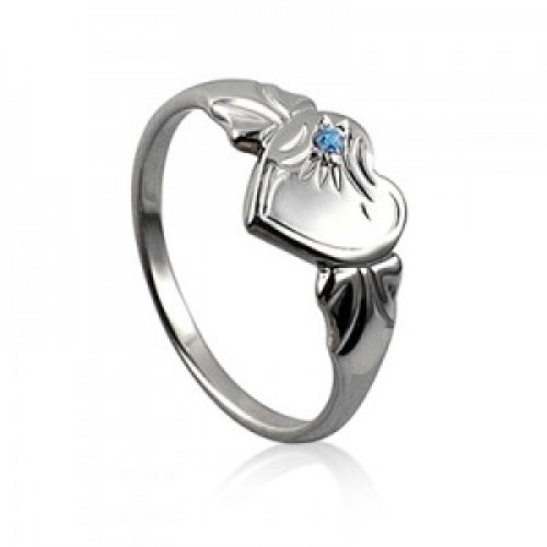 Sterling Silver Heart Signet Ring with Blue Zircon Cubic Zirconia (December)