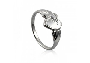 Sterling Silver Heart Signet Ring with Clear Cubic Zirconia (April)