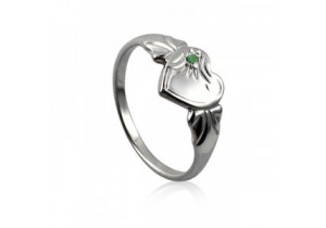 Sterling Silver Heart Signet Ring with Emerald Cubic Zirconia (May)