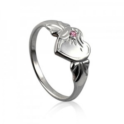 Sterling Silver Heart Signet Ring with Rose Cubic Zirconia (October)