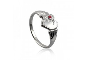 Sterling Silver Heart Signet Ring with Ruby Cubic Zirconia (July)