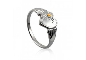 Sterling Silver Heart Signet Ring with Yellow Topaz Cubic Zirconia (November)