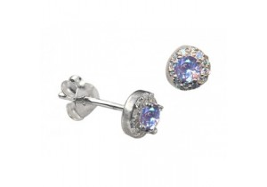 Sterling Silver Lavender Cubic Zirconia Studs