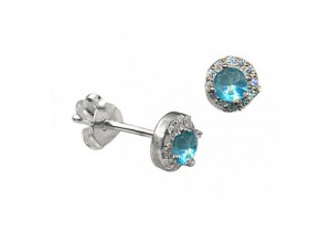 Sterling Silver Light Blue Cubic Zirconia Studs