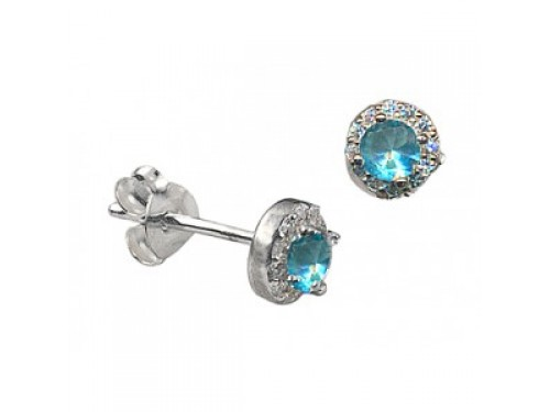 stainless earrings steel ear s p blue birthstones march ebay stud bezel light piercing crystal