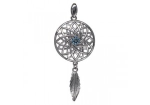 Sterling Silver Blue Topaz Dream Catcher Pendant