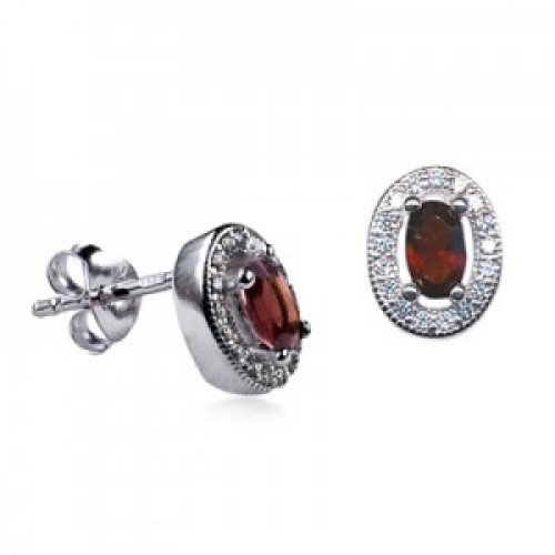 Sterling Silver Oval Studs with Garnet Cubic Zirconia (January)