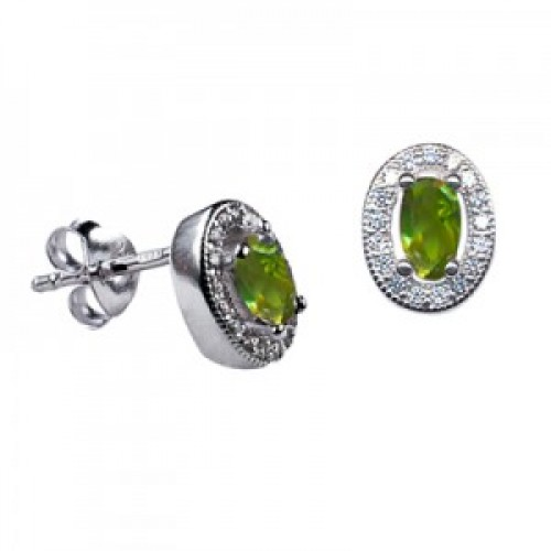Sterling Silver Oval Studs with Peridot Cubic Zirconia (August)