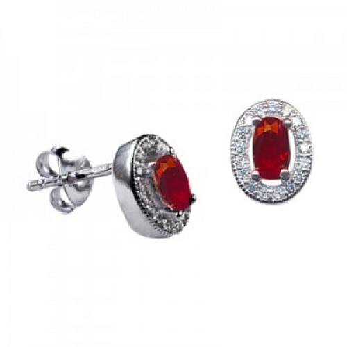 Sterling Silver Oval Studs with Ruby Cubic Zirconia (July)
