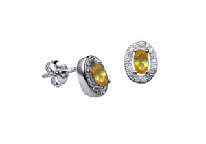 Sterling Silver Oval Studs with Topaz Cubic Zirconia (November)