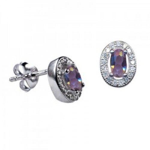 Sterling Silver Oval Studs with Alexandrite Cubic Zirconia (June)