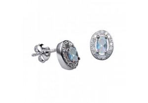 Sterling Silver Oval Studs with Aquamarine Cubic Zirconia (March)