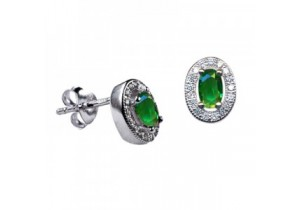 Sterling Silver Oval Studs with Emerald Cubic Zirconia (May)