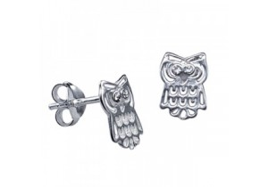 Sterling Silver Crystal Owl Studs