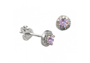 Sterling Silver Pink Cubic Zirconia Studs